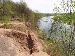 """Das 15 m hohe """"Rote Ufer"""" ist einer der schönsten Aussichtspunkte an der Mulde."""